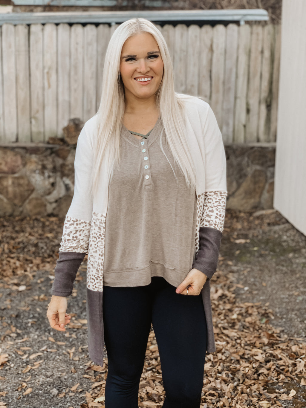 Down To One Cardigan Taupe Multi
