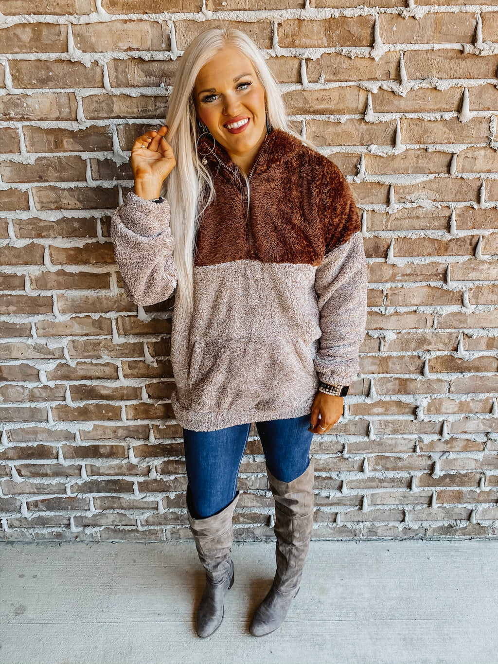 Winter Delights Sherpa Pullover BROWN PLUS
