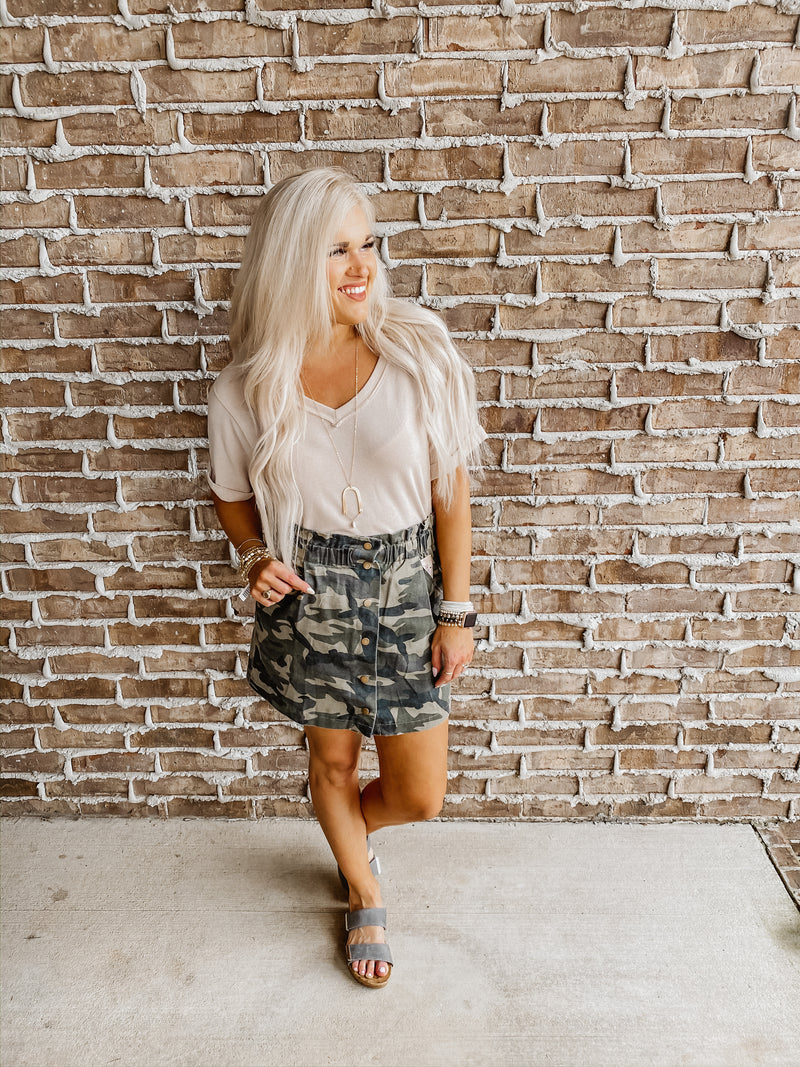 The Wow Camo Button Skirt
