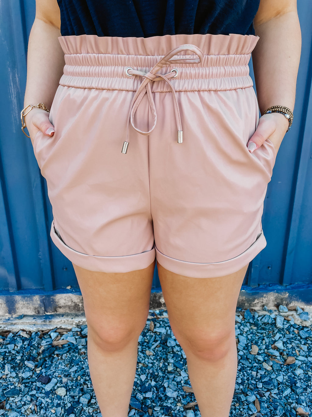 Let's Go Out Pleather Shorts Blush
