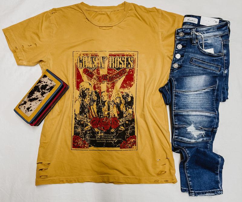 Guns & Roses Distressed Graphic Tee Ginger