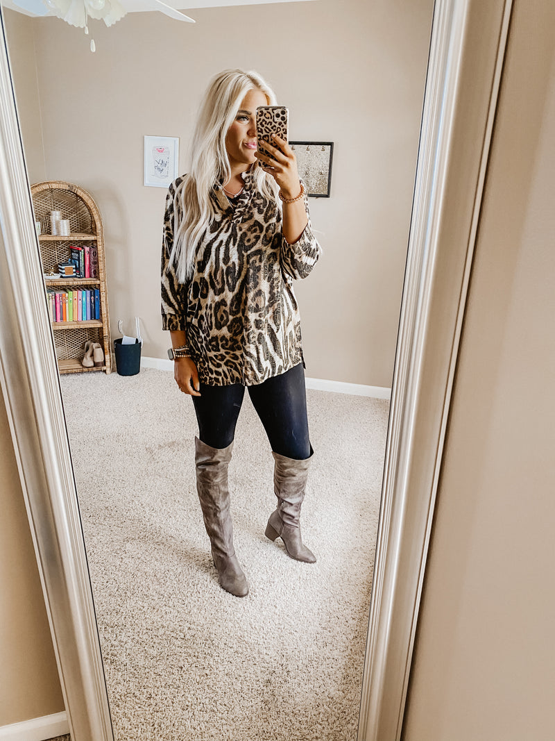 Gabby Leopard Shine Top