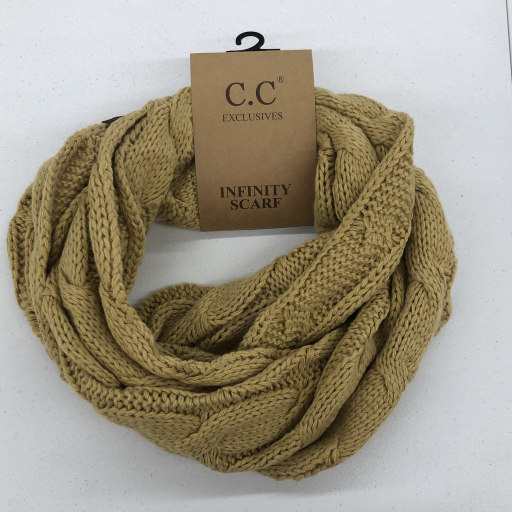 C.C. Cable Knit Scarf Camel