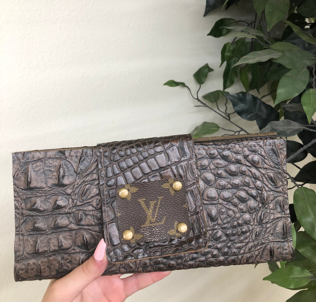 Chocolate Croc LV Upcycled Wallet
