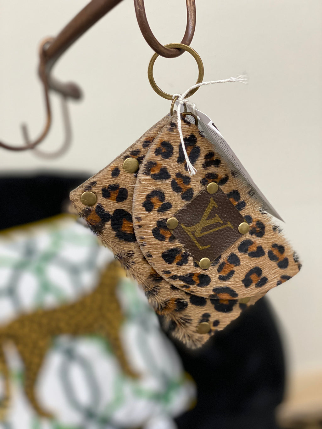 Leopard Coleen LV Upcycled Keychain