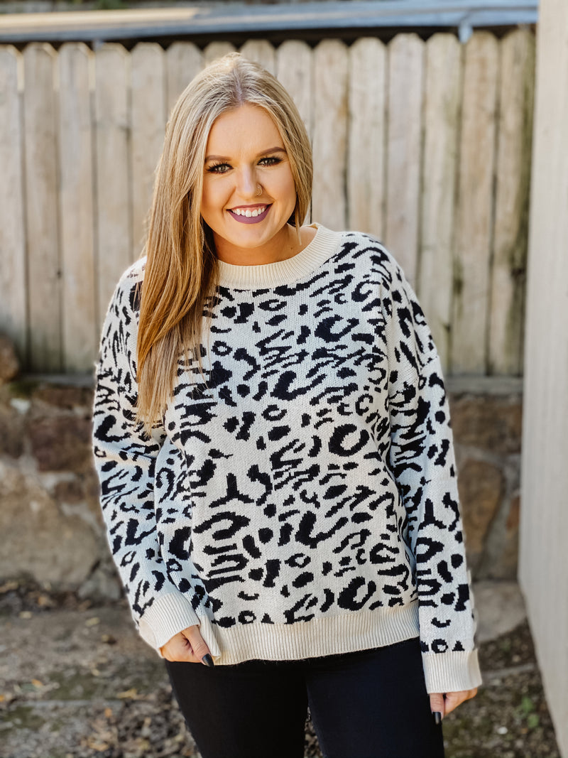 Almost Famous Leopard Sweater IVORY BLACK