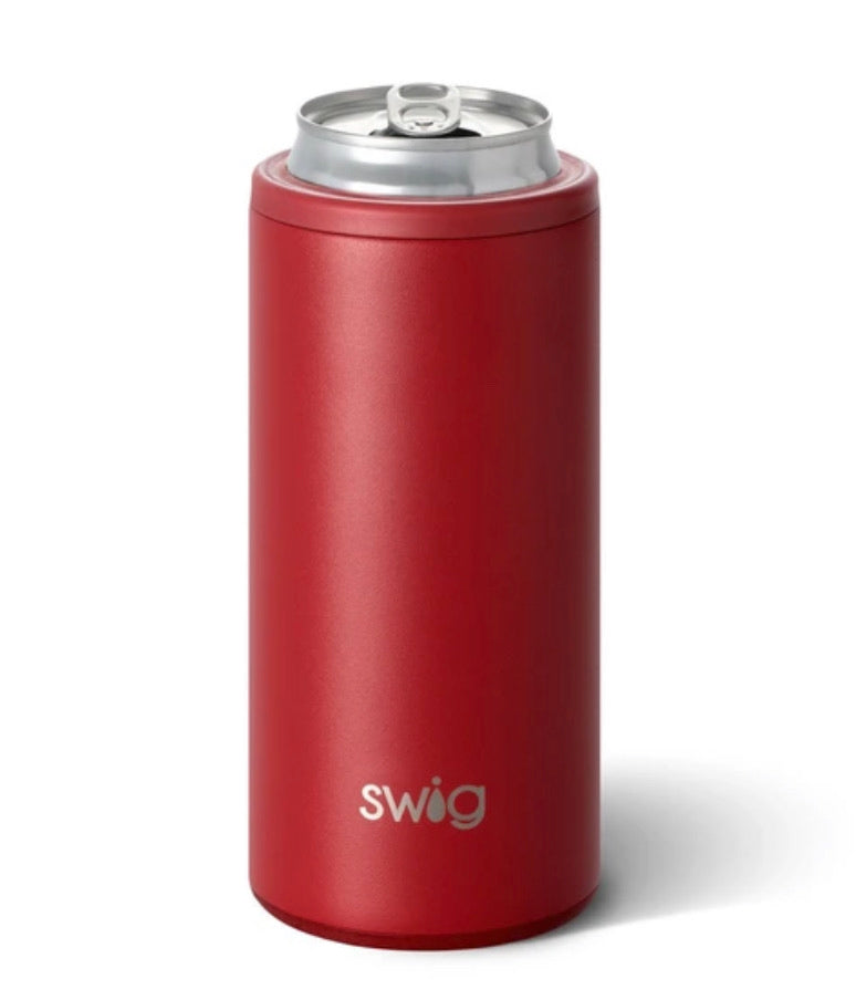 Matte Crimson Skinny Can Cooler by Swig