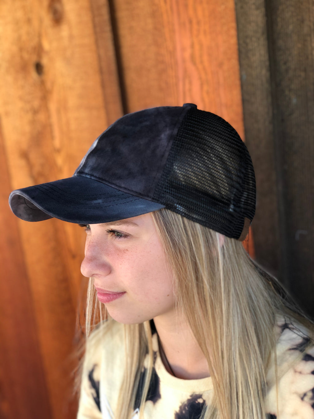 Tie Die Ponytail CC Ball Cap BLACK
