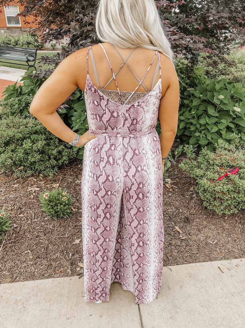 Known by All Snakeskin Jumpsuit