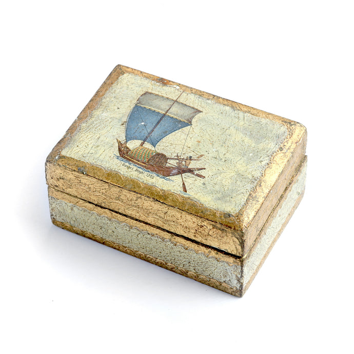 Florentine Hand-Painted Ship Box