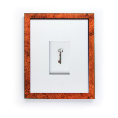 Antique Skeleton Key in Burled Walnut Frame