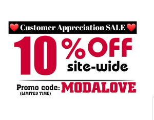 Customer Appreciation SALE 10% Off site wide tops dresses skirts pants jeans denim jackets coats sweaters cardigans