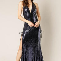 Blue Sequin Maxi Dress-Dress-Moda Me Couture