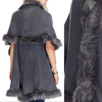 Audrey Gray Classic Cape with Faux Fur Trim