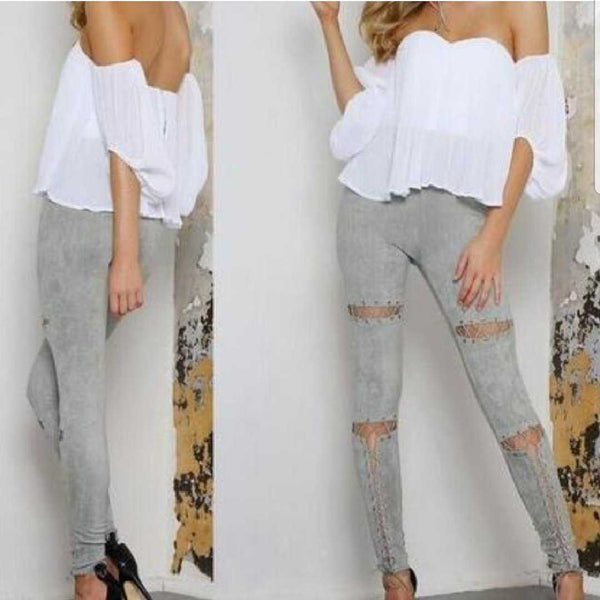 Gray Lace Up Pants-Pants-Moda Me Couture