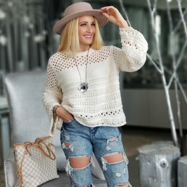 Angela Chenille Sweater - Cream-Sweater-Moda Me Couture