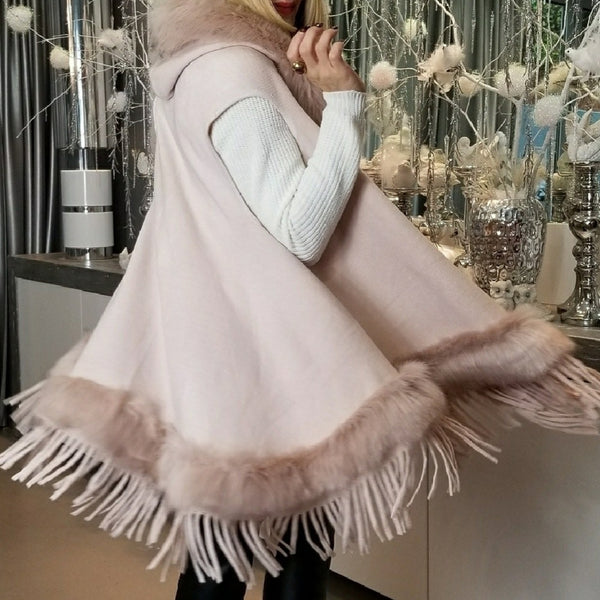 Sophie - Classic Vest with Faux Fur Trim Rose-Sweater-Moda Me Couture ®