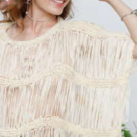 SALOME Fringe Top Beige-Tops-Moda Me Couture