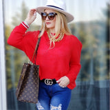 ROSY Light Knit Sweater Top - Red-Sweater-Moda Me Couture