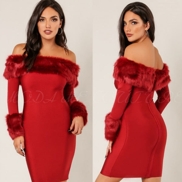 Red Bodycon Dress Faux Fur Trim-Dress-Moda Me Couture