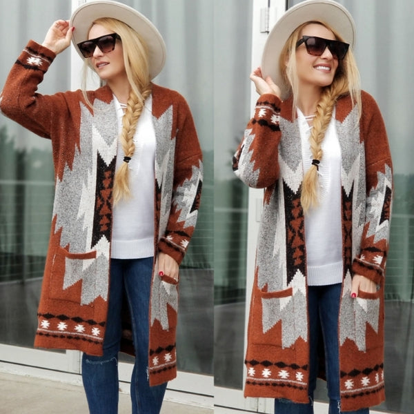 Tribal Print Aztec Cardigan-Sweater-Moda Me Couture