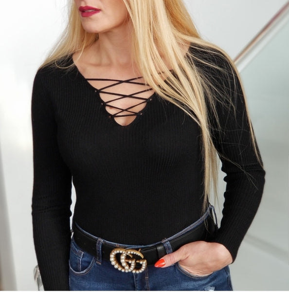 Black Ribbed Top-Tops-Moda Me Couture