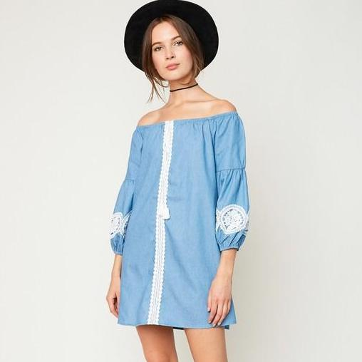 Boho Beauty Blue Off Shoulder Dress-Dress-Moda Me Couture
