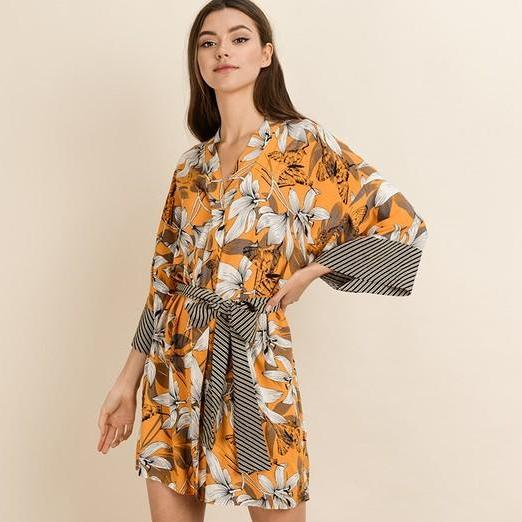 Jasmine Floral Kimono Mini Dress-Dress-Moda Me Couture