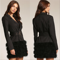 Coco Feather Trim Blazer Dress-Jackets & Coats-Moda Me Couture