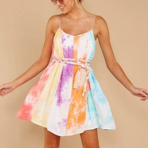 Rainbow Tie Dye Mini Dress-Dress-Moda Me Couture