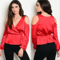 Red Satin Top-Tops-Moda Me Couture