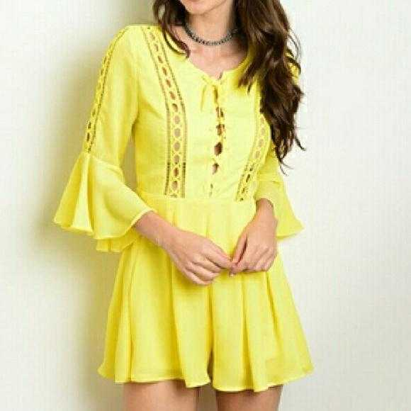 Yellow Bell Sleeved Romper-Pants-Moda Me Couture