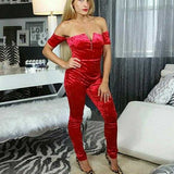 Red Velvet Jumpsuit-Pants-Moda Me Couture