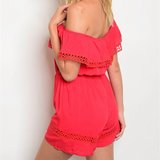 Off Shoulder Red Romper-Pants-Moda Me Couture