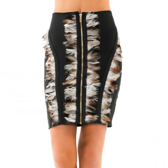SEXY Feather detail Bandage Skirt | MODA ME COUTURE