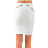 White Bodycon skirt with Feather details-Skirt-Moda Me Couture