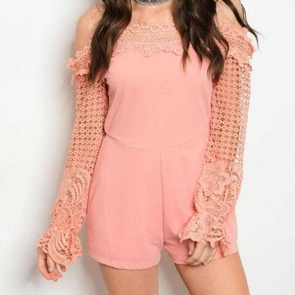 ROMANTIC BLUSH PINK CROCHET ROMPER | MODA ME COUTURE