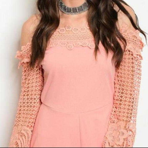 ROMATIC BLUSH PINK CROCHET ROMPER