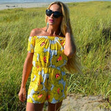 Yellow Floral off Shoulder Romper-Pants-Moda Me Couture