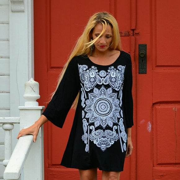 Black Mini Dress Tunic Top-Dress-Moda Me Couture