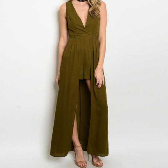 Olive Green Maxi Romper-Pants-Moda Me Couture