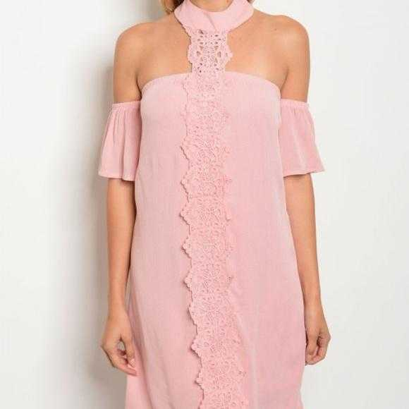 Choker Pink Dress-Dress-Moda Me Couture