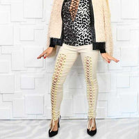 Lace Up Front Pants Beige | MODA ME COUTURE