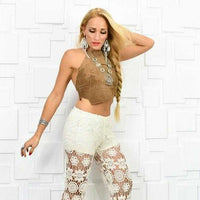 Leather Coachella Brown Crop Top-Tops-Moda Me Couture