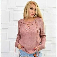 Dusty Pink Lace Up Sweater-Sweater-Moda Me Couture