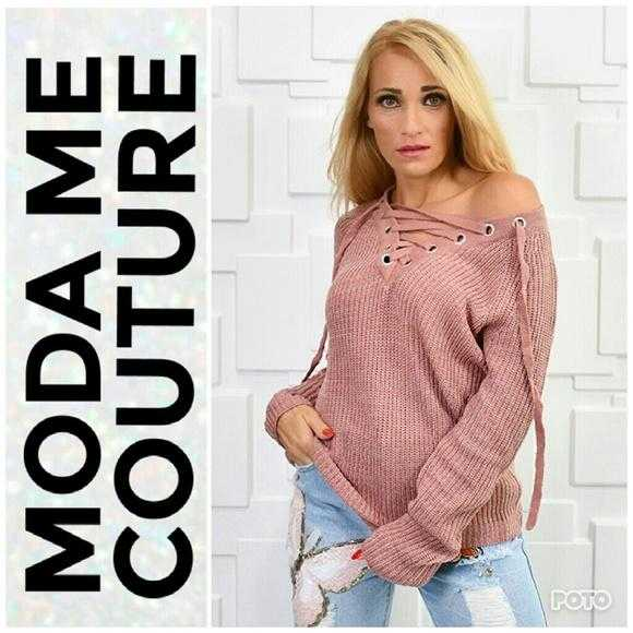 DUSTY PINK LACE UP SWEATER