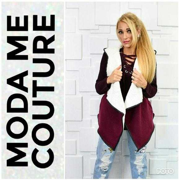 BURGUNDY VEST FAUX SHEARLING FUR | MODA ME COUTURE