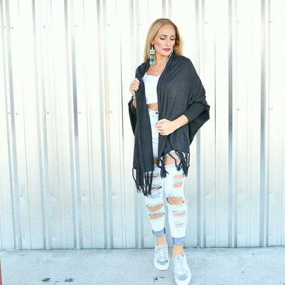 Charcoal Gray Shrug Wrap-Sweater-Moda Me Couture ®