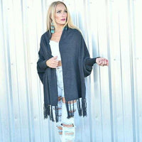 Charcoal Gray Shrug Wrap-Sweater-Moda Me Couture