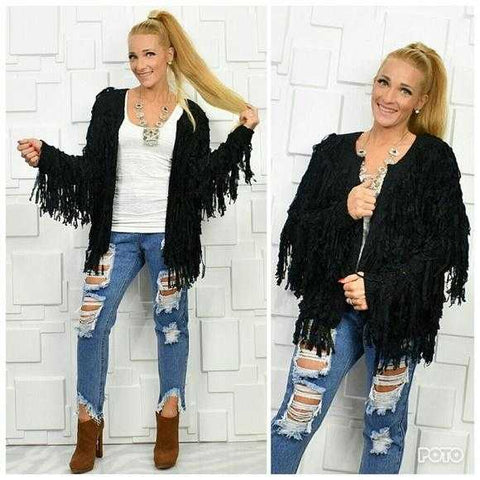 Fringe Cardigan Black